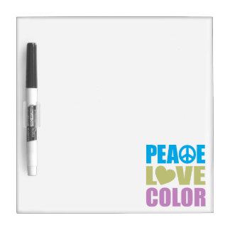 Color del amor de la paz pizarras blancas