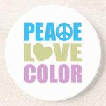 Color del amor de la paz posavasos diseño