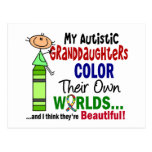 COLOR del autismo SUS PROPIAS nietas de los MUNDOS Postal
