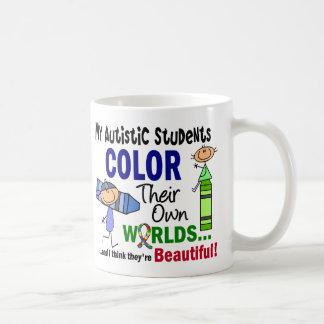 COLOR del autismo SUS PROPIOS estudiantes de los Taza Básica Blanca