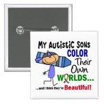 COLOR del autismo SUS PROPIOS hijos de los MUNDOS Pins