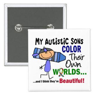 COLOR del autismo SUS PROPIOS hijos de los MUNDOS Pin Cuadrada 5 Cm