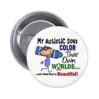 COLOR del autismo SUS PROPIOS hijos de los MUNDOS Pin Redondo 5 Cm