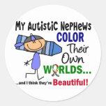 COLOR del autismo SUS PROPIOS sobrinos de los MUND Etiquetas