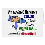 COLOR del autismo SUS PROPIOS sobrinos de los MUND Tarjetas
