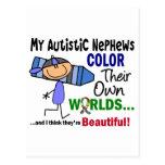 COLOR del autismo SUS PROPIOS sobrinos de los MUND Postales