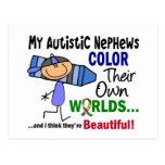COLOR del autismo SUS PROPIOS sobrinos de los MUND Tarjetas Postales
