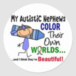 COLOR del autismo SUS PROPIOS sobrinos de los Etiquetas Redondas