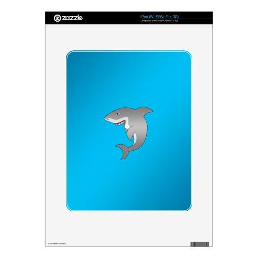 Color del azul del tiburón calcomanía para iPad