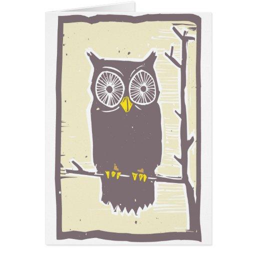 Color del búho tarjeta de felicitación