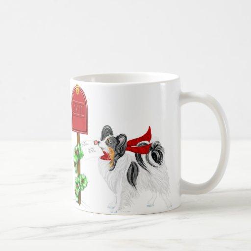 Color del correo del navidad de Papillon tri Taza
