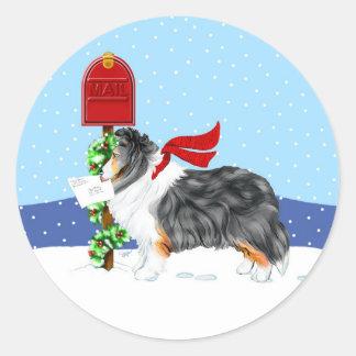 Color del correo del navidad de Sheltie tri Pegatina Redonda