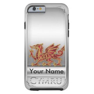 Color del efecto de la plata del dragón Galés, Funda De iPhone 6 Tough