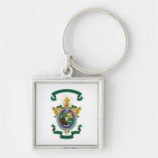 Color del escudo de armas de LCA Llavero Cuadrado Plateado