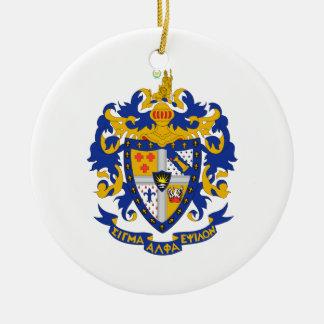 Color del escudo de armas del SAE Adorno Navideño Redondo De Cerámica