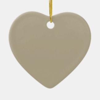 Color del gris de Nantucket Adorno Navideño De Cerámica En Forma De Corazón