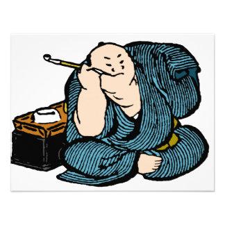 Color del hombre de Hokusai que fuma Invitación
