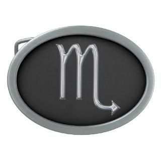 Color del Muestra-Cromo del zodiaco del escorpión Hebilla Cinturon Oval