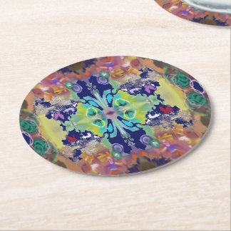 Color Design in the Abstract Round Paper Coaster