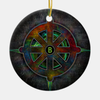 Color Dharma Wheel of Energy Ceramic Ornament
