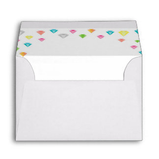 Color diamonds confetti wedding envelope