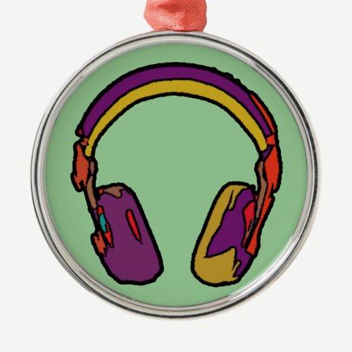 color dj headphone metal ornament