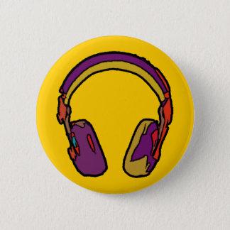 color dj headphone pinback button