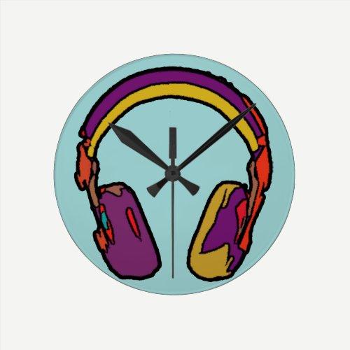 color dj headphone round clock