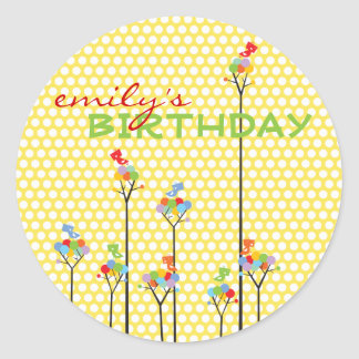 Color Dot Trees Cute Birds Children Birthday Party Classic Round Sticker