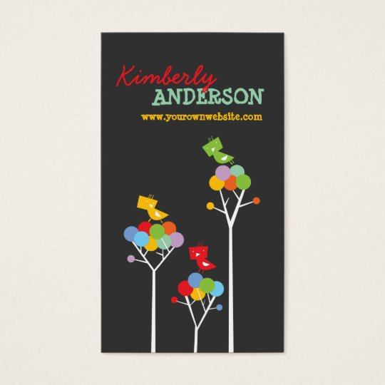 Color Dot Trees + Cute Birds Custom Profile Card