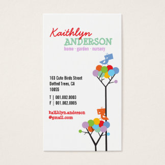 Color Dot Trees + Cute Birds Custom Profile Card