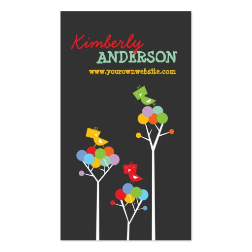 Color Dot Trees + Cute Birds Custom Profile Card Double-Sided Standard Business Cards (Pack Of 100)