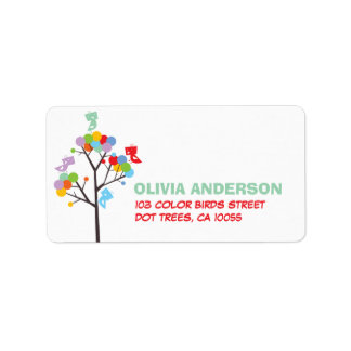 Color Dot Trees Cute Birds Party Address Labels