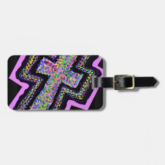Color dots and The Cross. Luggage Tag