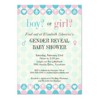 Color Dots Gender Reveal Baby Shower Card
