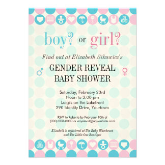 Color Dots Gender Reveal Baby Shower Announcements