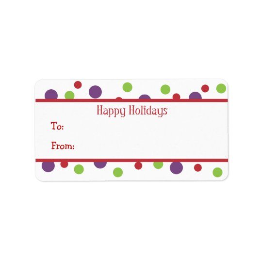 Color Dots Holiday Gift Tags