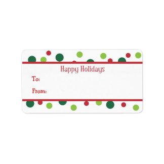 Color Dots Holiday Gift Tags Custom Address Label