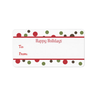 Color Dots Holiday Gift Tags Personalized Address Label