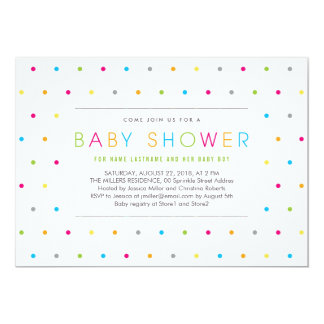Color Dots Modern Clean Neutral Baby Shower Invite