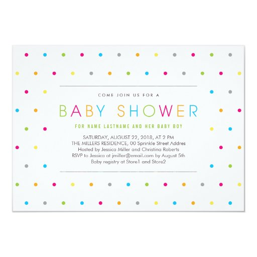 Color Dots Modern Clean Neutral Baby Shower Invite Personalized Invitation