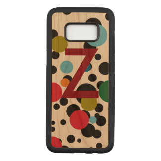color dots with initial carved samsung galaxy s8 case