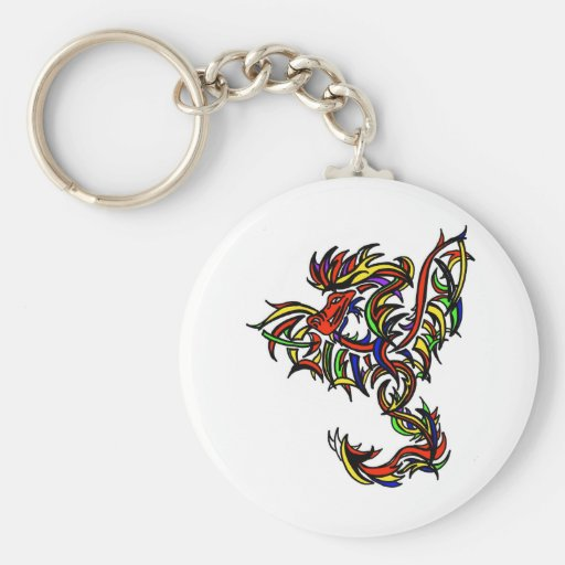 Color Dragon tribe Basic Round Button Keychain
