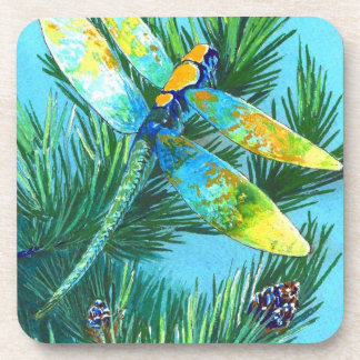Color Dragonfly & Pine Tree Coaster