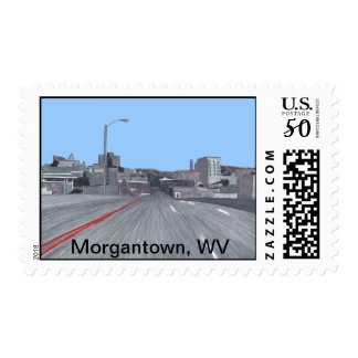 Color Drawing Morgantown WV Skyline Postage Stamps