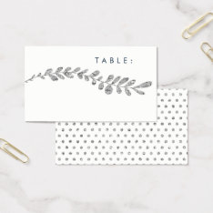 Color Editable Faux Silver Leaf Wedding Place Card at Zazzle