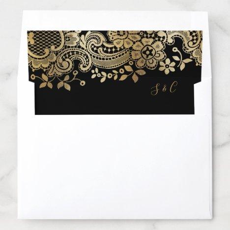 Color editable gold elegant vintage lace wedding envelope liner