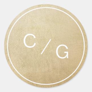 Color editable minimalist modern couple monogram classic round sticker