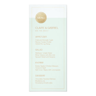 Color editable minimalist modern wedding menu card