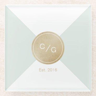 Beach Themed Color editable minimalist modern wedding monogram glass coaster